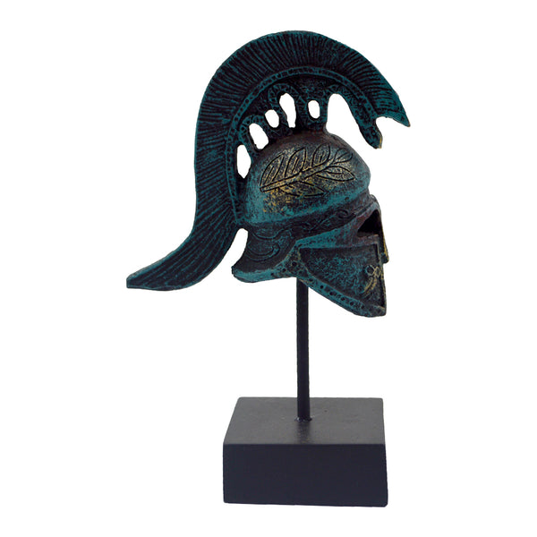 athenian helmet on a base with ancient greek helmet and meandros on the plate (bronze natural oxydite) 14cm