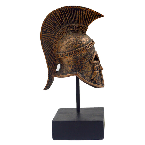 Athenian helmet on a base with ancient greek helmet and meandros on the plate (bronze) 14cm
