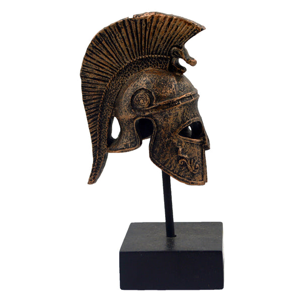 Corinthian helmet on a base with ancient greek helmet and meandros on the plate (bronze) 14cm