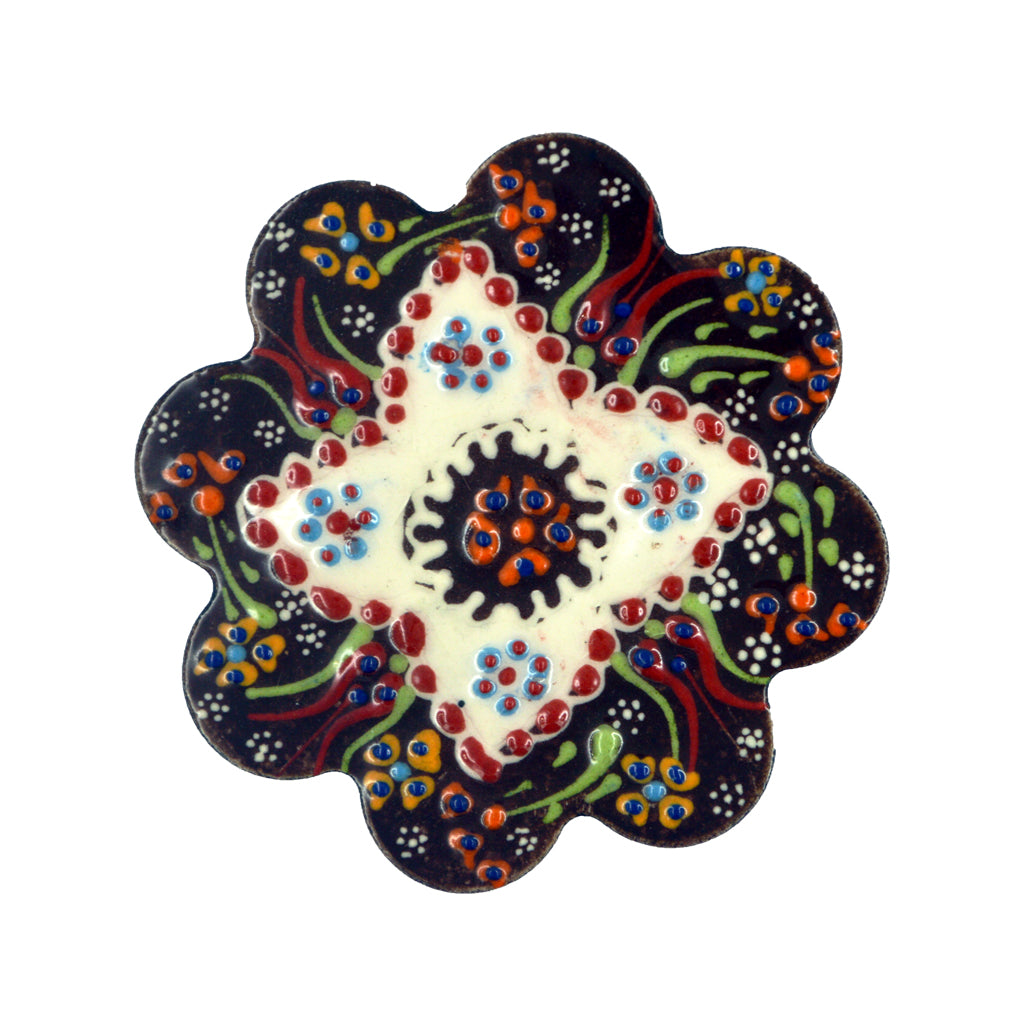 Ceramic plate (dark blue-white-red) 7.5cm