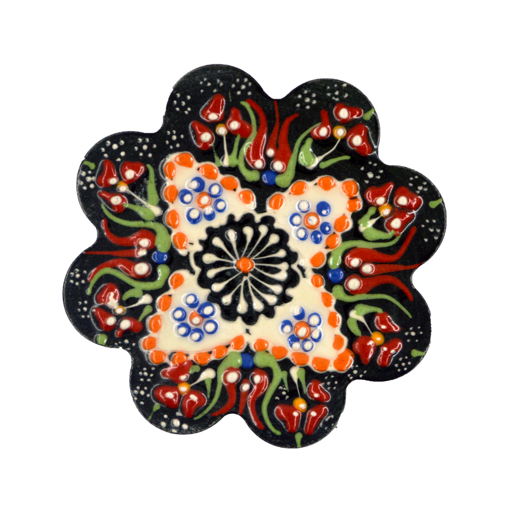Ceramic plate (dark blue-white-orange) 7.5cm