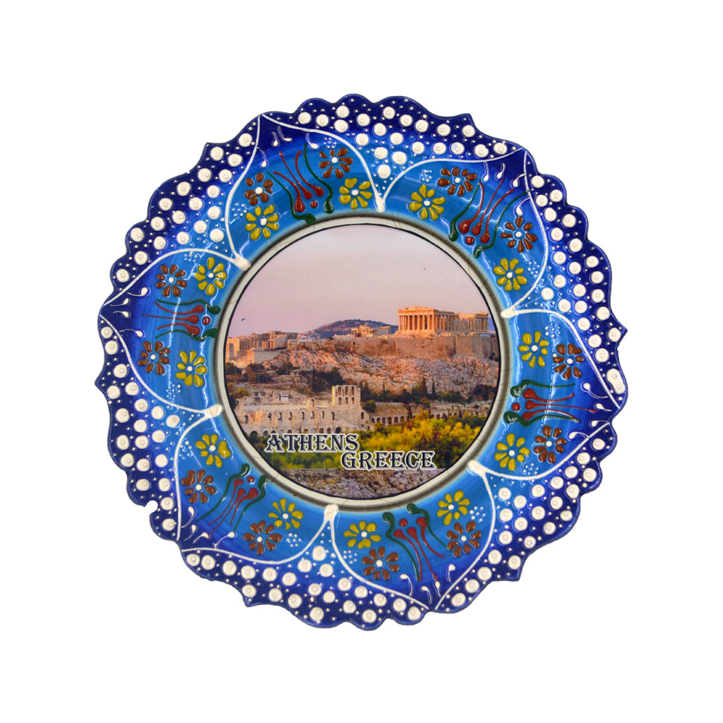 Ceramic plate with acropolis and athens-greece logo (blue) 20cm