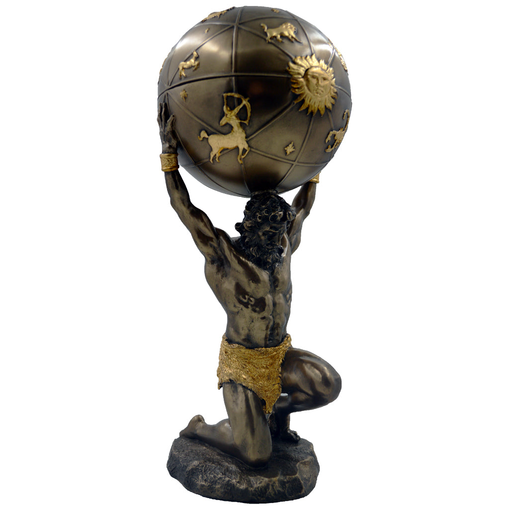 Atlas on knee holding a sphere with zodiacs 32.5cm