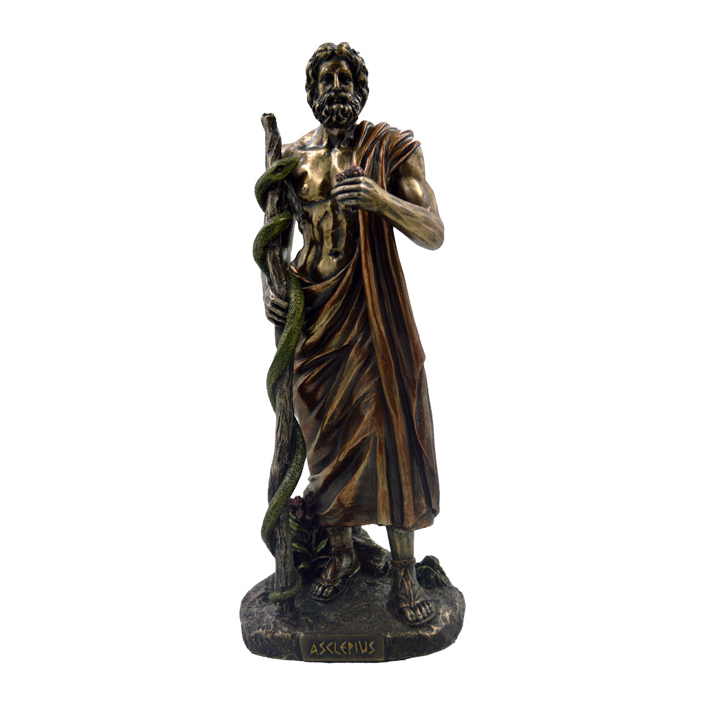 Asclepius god of medicine carrying a rod with a single snake 29cm