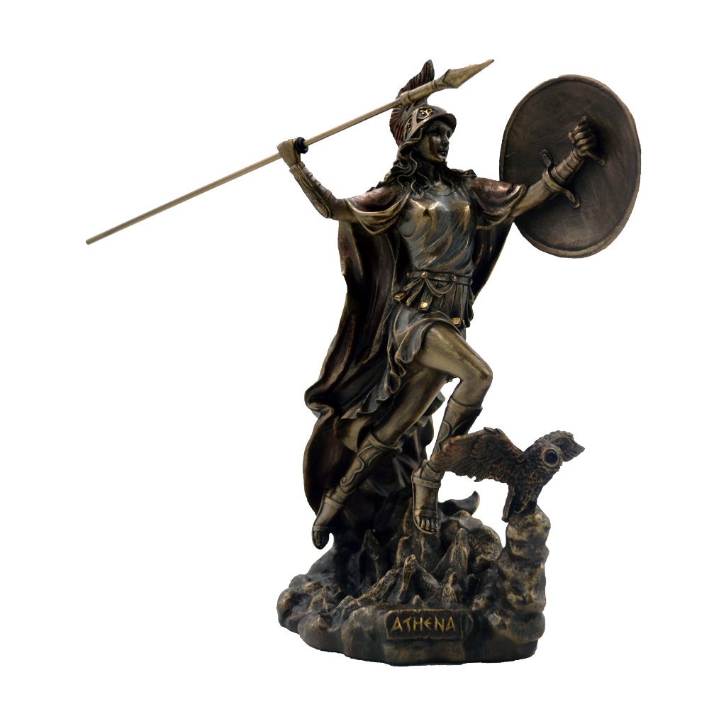 Athena with hawk, spear and shield 22cm
