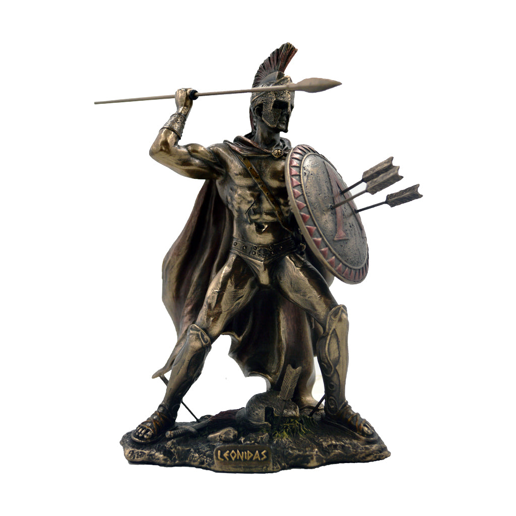 Leonidas Greek warrior king of sparta with spear and  with arrows on the shield 21cm
