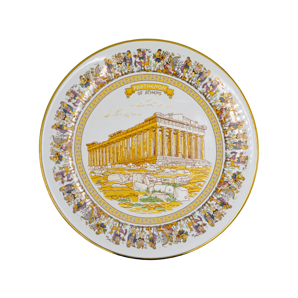 Porcelain plate with Parthenon (white-gold) 16cm