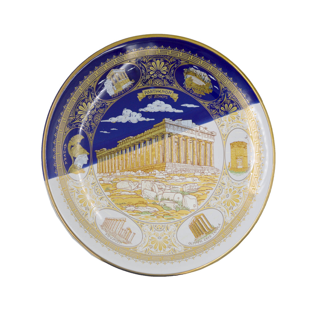 Porcelain plate with Parthenon (half blue-half white) 16cm