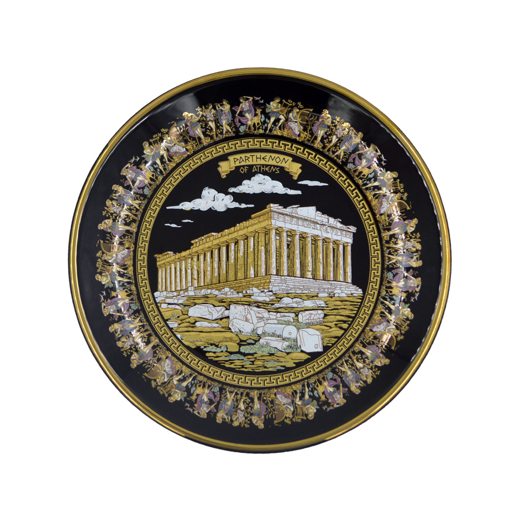 Porcelain plate with parthenon (black) 12cm