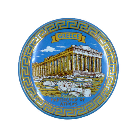 Ceramic plate with parthenon and meandros (light blue) 7.5cm