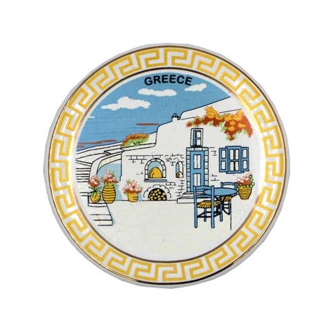 Ceramic plate with meandros-greek place and greece logo (white) 7.5cm
