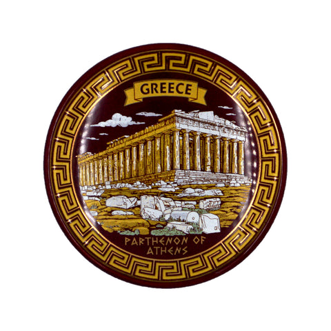 Ceramic plate with Parthenon and greece-parthenon of athens logo (dark brown) 7.5cm