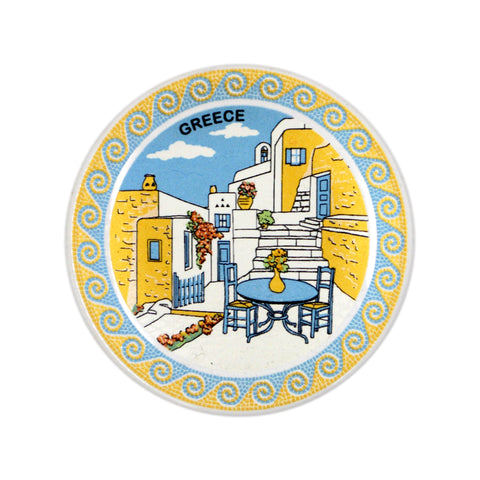 Ceramic plate greek place (white) 7.5cm
