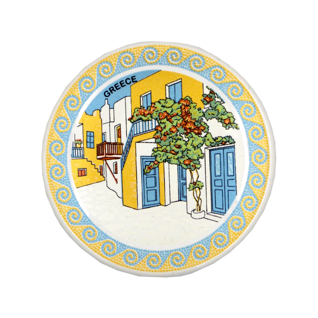 Ceramic plate greek place and greece logo (white) 7.5cm