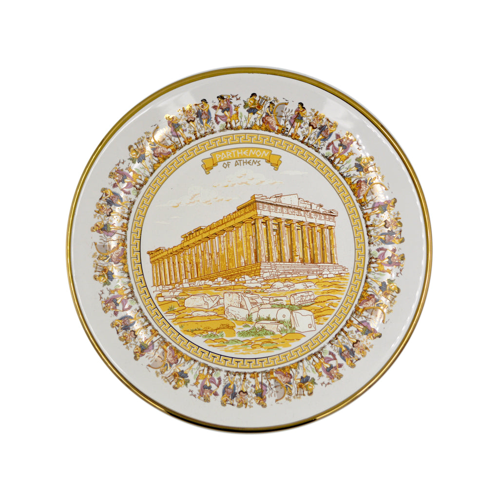 Porcelain plate with parthenon (white-gold) 12cm