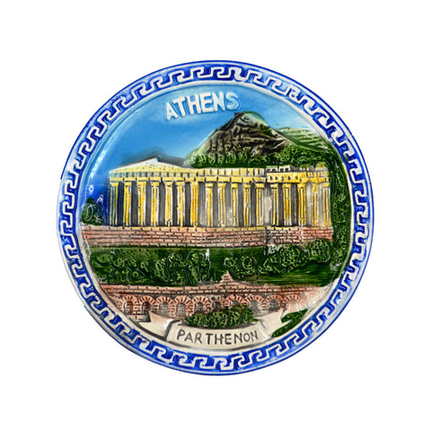 Ceramic plate with meandros and parthenon (realistic) (blue) 7.5cm