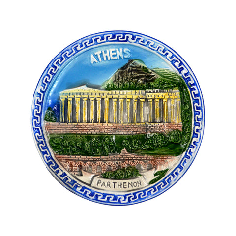 Ceramic plate with meandros and parthenon (realistic) (blue) 12cm
