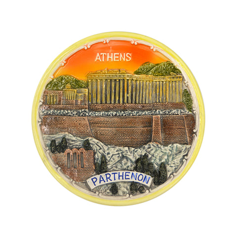 Ceramic plate with parthenon and logo athens-parthenon (sunset) (orange) 12cm