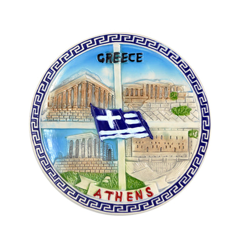 Ceramic plate with four diffferent views of parthenon and athens-greece logo (meandros-greek flag) (blue - white) 12cm