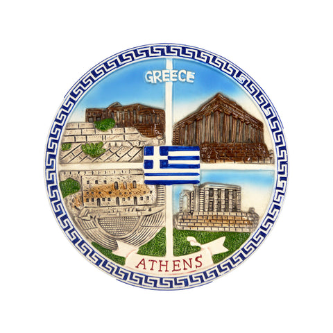 Ceramic plate with four diffferent views of parthenon and athens-greece logo (meandros-greek flag) (blue-white) 12cm