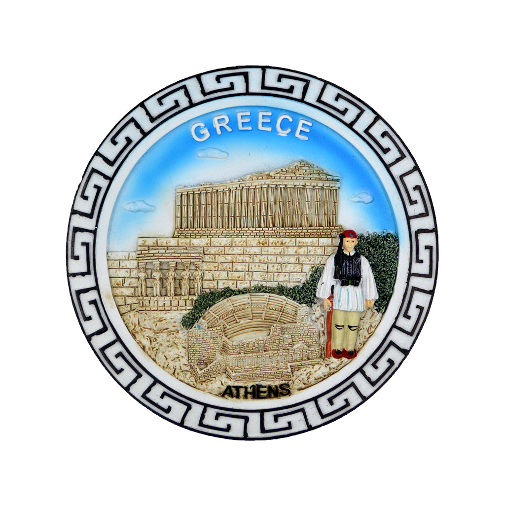 Ceramic plate with parthenon and tsolias (meandros-greece-athens logo) (blue) 7.5cm