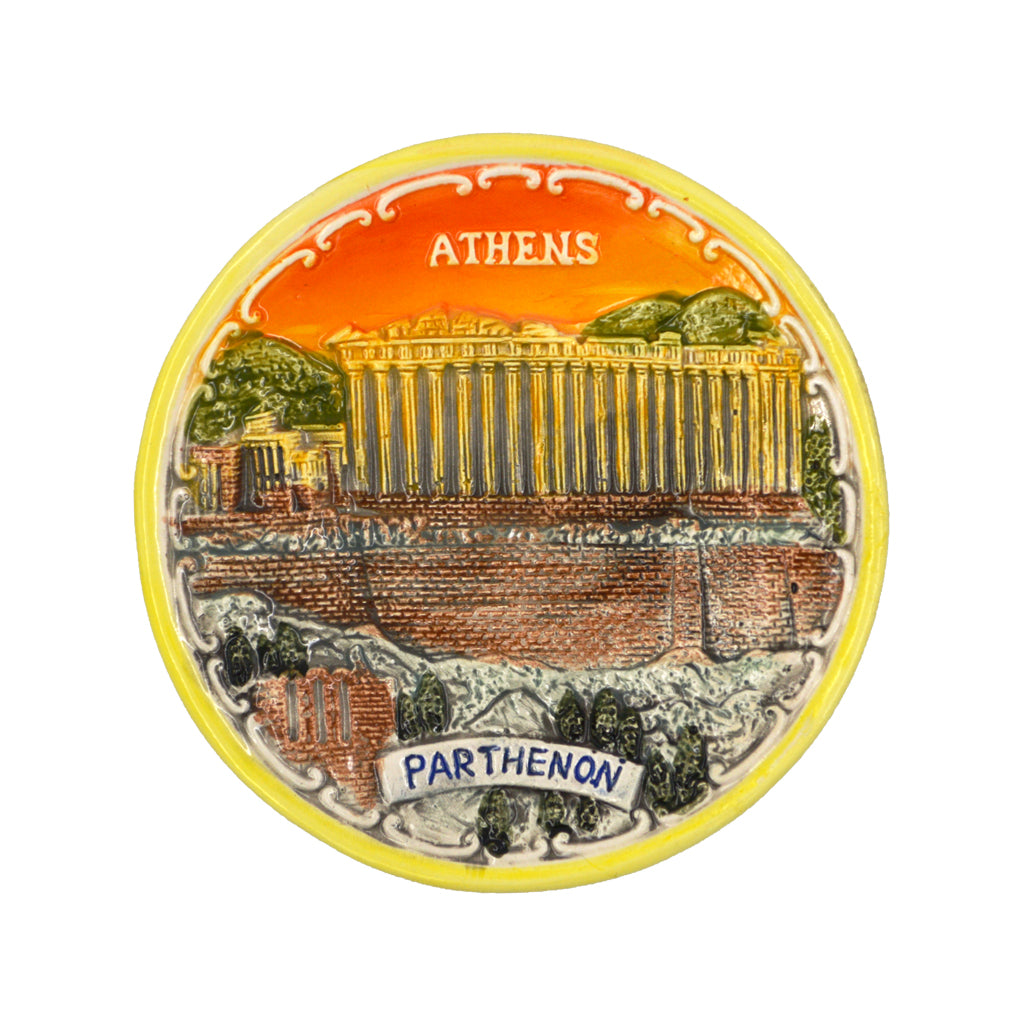 Ceramic plate withn parthenon and athens-greece logo (sunset) (orange) 7.5cm
