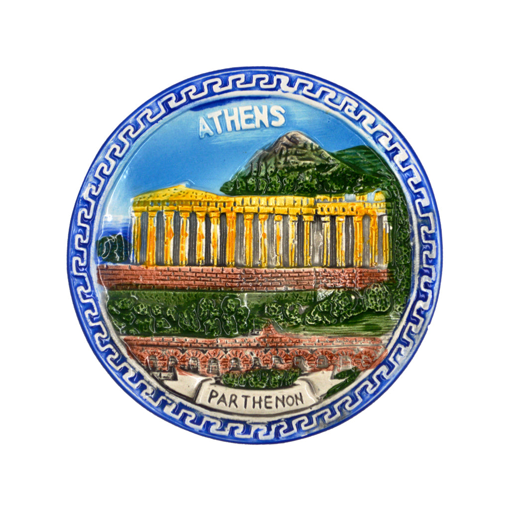 Ceramic plate with parthenon and meandros,athens-parthenon logo (realistic) (blue) 7.5cm