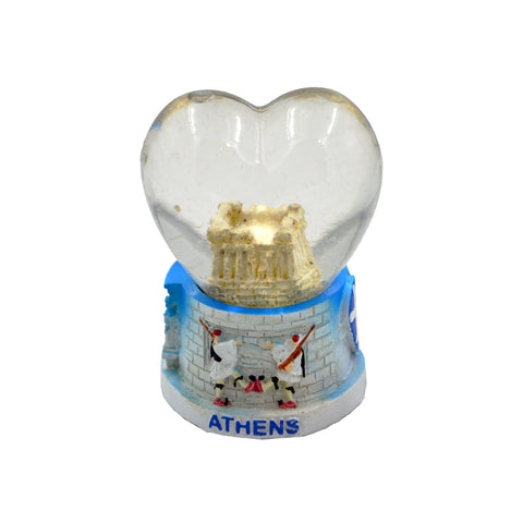 Heart-shaped snow ball with Acropolis and tsoliades (light blue)