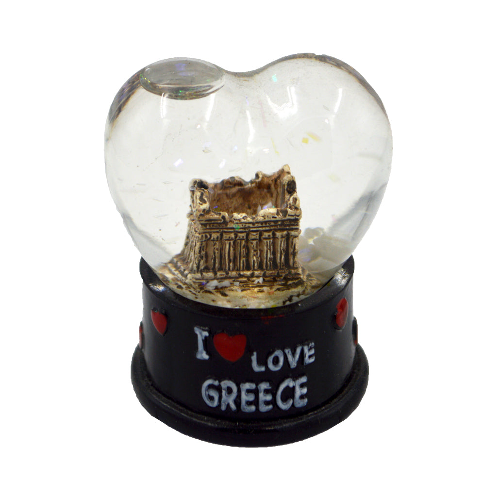 Heart-shaped snow ball with Acropolis and i love greece logo (black) 6cm