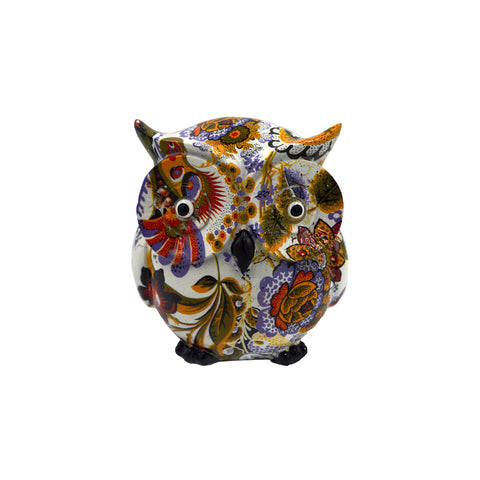 Owl with painted flowers (white) 9cm