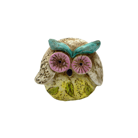 Owl with funny  pink eyes and light blue eyebrows (mixed colors) 5cm