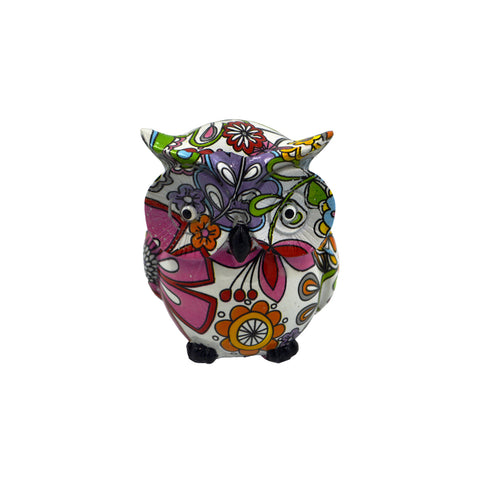 Owl with painted flowers (white) 7cm