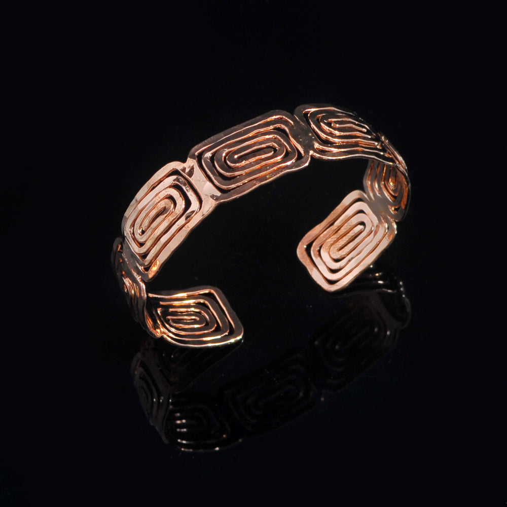 Pink gold plated bangle meandros symbol of eternity