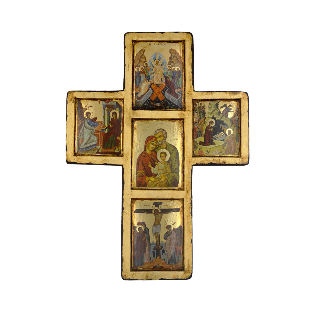 Cross with the birth,the crucifixion of Jesus and the holy family 30cm