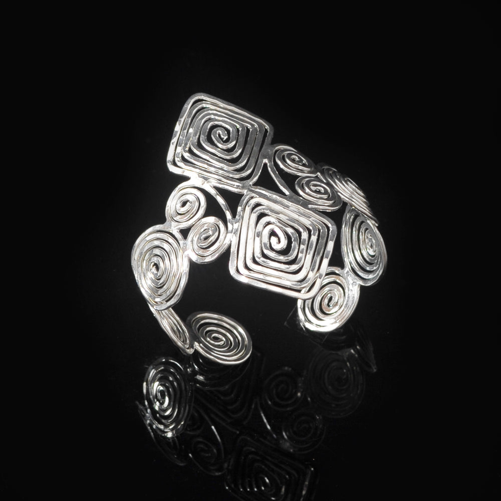 Silver plated bangle meandros symbol of eternity and long life spirals