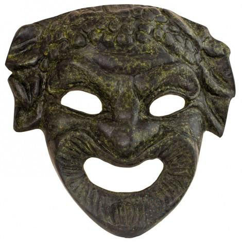 Athenian comedy mask 12cm (bronze natural oxydite)