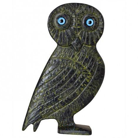 Owl of Athena with blue eyes (bronze natural oxydite)