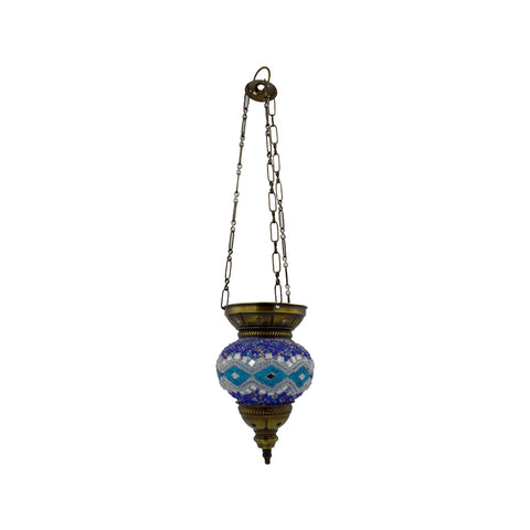 Mosaic lamp (blue - white) 19cm