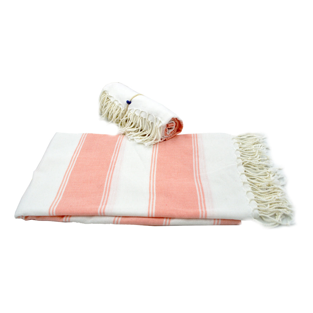 Pestamal towel with pink stripes and white stripes 175cm