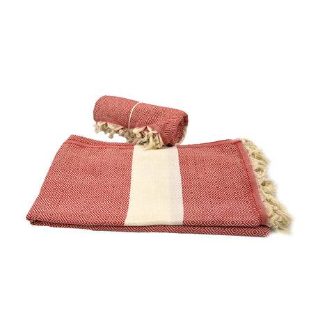 Pestamal towel dark pink with white stripe 175cm