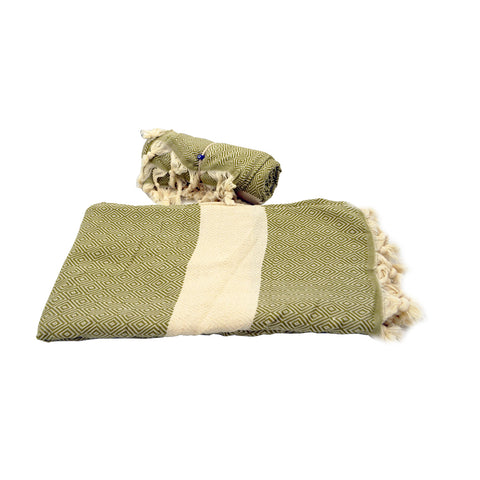 Pestamal towel dark green with white stripe 175cm
