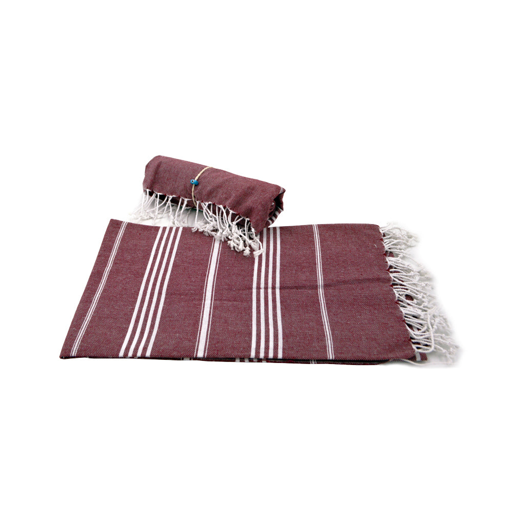 Pestamal towel dark purple with white stripes 175cm