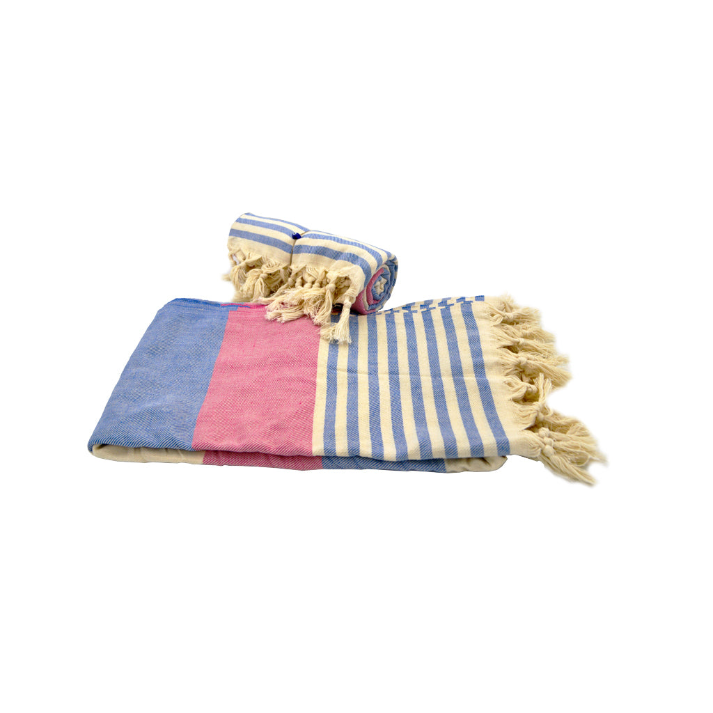 Pestamal towel with different sizes of stripes (purple - blue) 175cm
