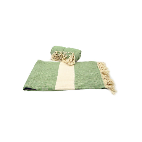 Pestamal towel green with white stripe 175cm