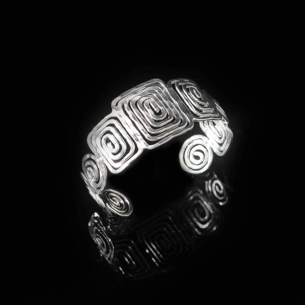 Silver plated bangle meandros symbol of eternity with long life spirals
