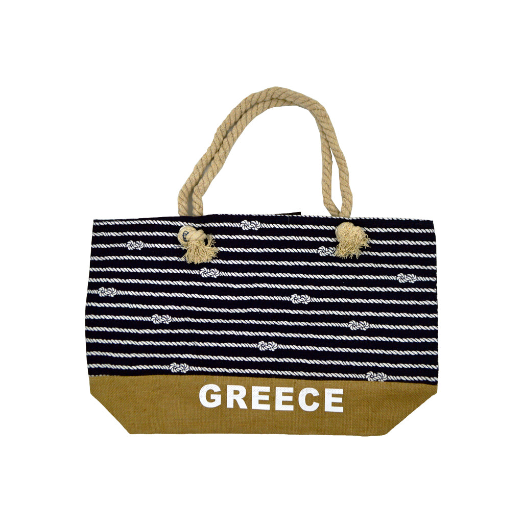 Bag with dark blue - white stripes-ropes and brown at bottom with white logo greece 34cm