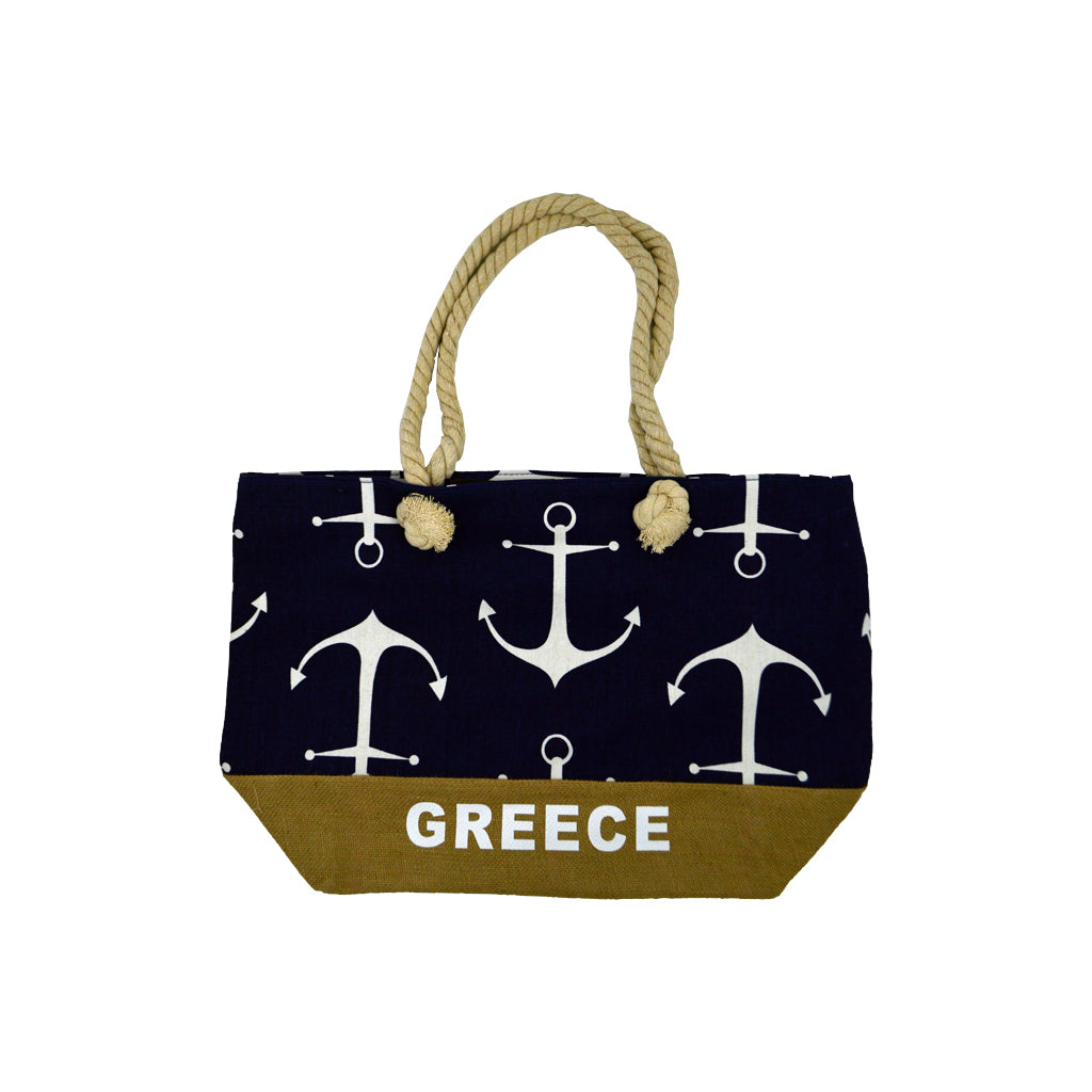 Bag dark blue with white anchors and brown bottom with white logo greece 42cm