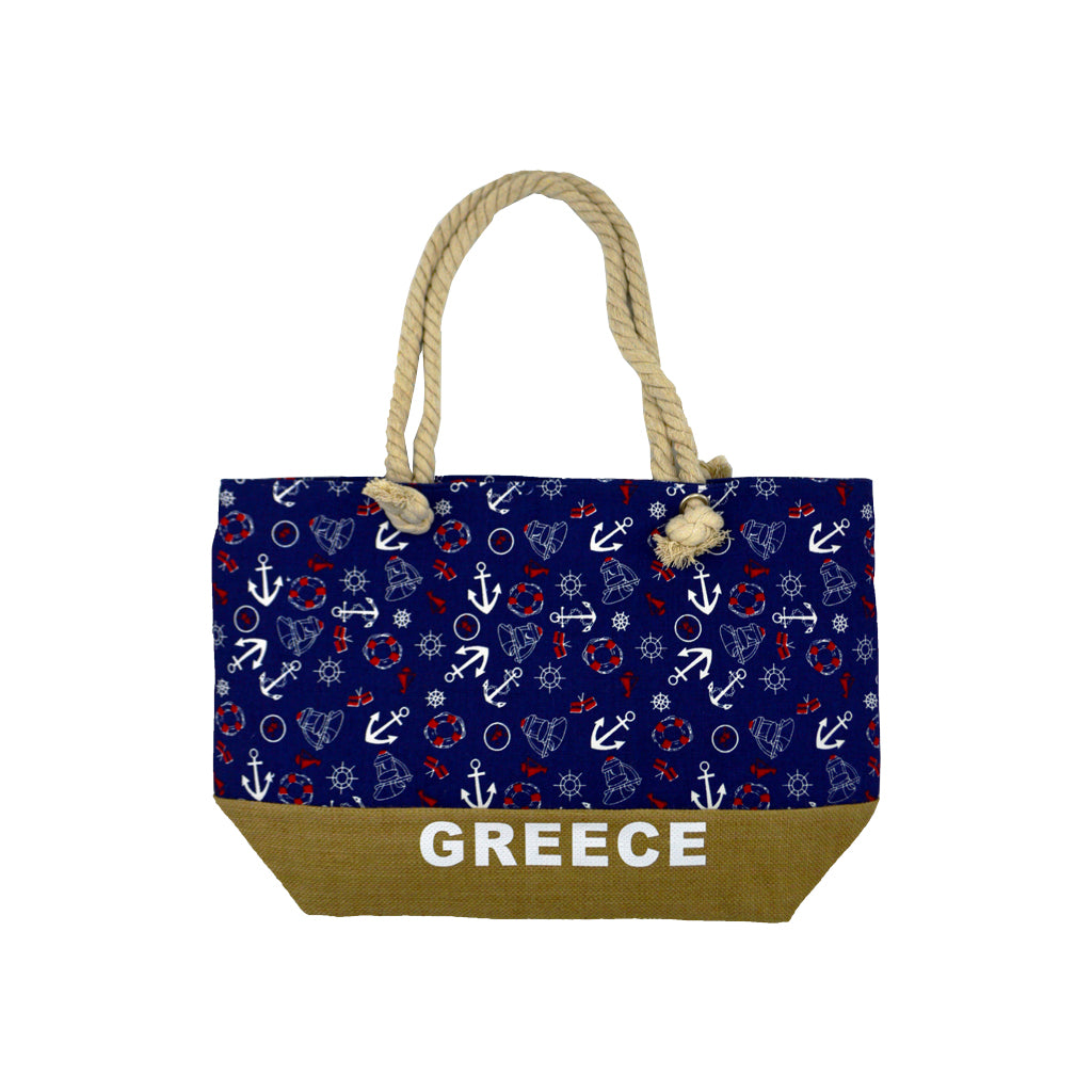 Bag dark blue with many navy signs and brown bottom with logo greece 42cm