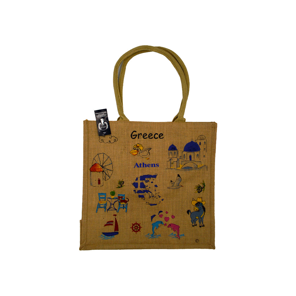 Bag brown with greek figures 42cm