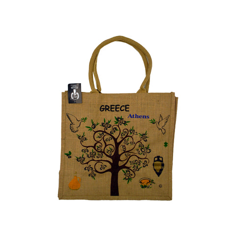 Bag brown with tree,birds and logo greece athens 42cm